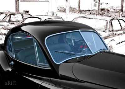 Jaguar XK 120 Oldtimer Poster in schwarz-weiß