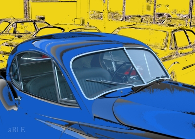 Jaguar XK 120 FHC Poster in blue & yellow