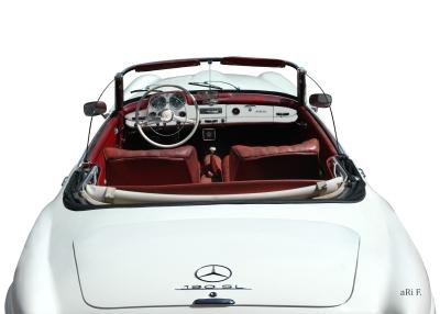 Mercedes-Benz 190 SL Poster in white & white (Originalfarbe)