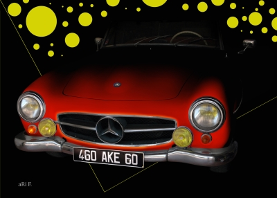 Mercedes-Benz 190 SL in red & black backround