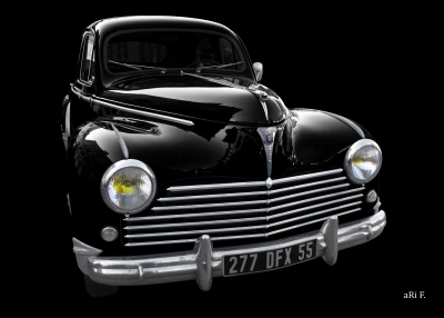 Peugeot 203 Poster in black & black
