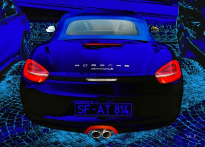 Porsche Boxster S Poster all in blue