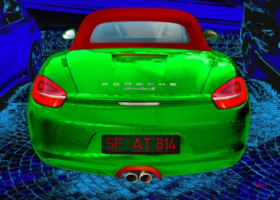 Porsche Boxster S Poster in black & green