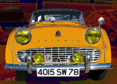 Triumph TR3 in yellow & red