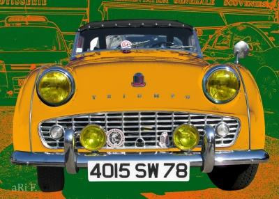 Triumph TR3 in yellow & green