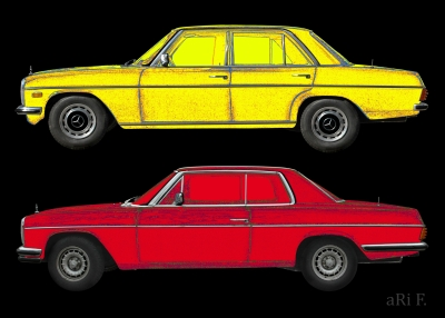 W114 Mercedes-Benz /8 Limo & Coupé in yellow & red