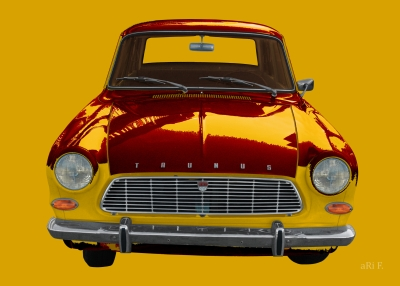 Ford Taunus 12M in yellow-red mix