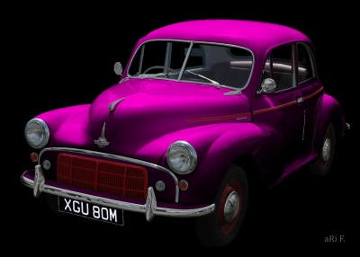 Morris Minor in black & lila minimal