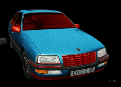 Opel Senator B in black & red-blue mix