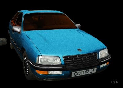 Opel Senator B in black & blue-black mix