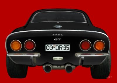 Opel GT in red & black rear view