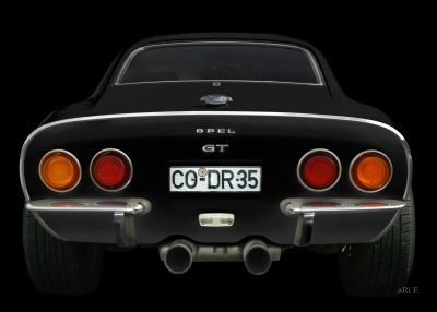 Opel GT in black & black rear view