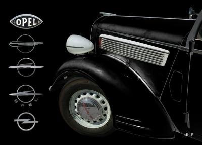 Opel Super 6 Cabriolet Poster in black & black (Frontdetail)