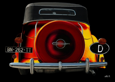 Opel Super 6 Cabriolet in black & orange (Heckansicht)