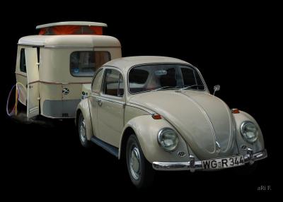 VW 1300 mit Eriba Familia Wohnwagen (Originalfarbe)
