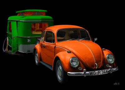VW 1300 in black & orange mit Eriba Familia Poster in Pop-art