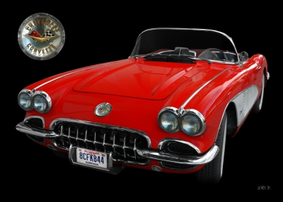 Chevrolet Corvette C1 Serie 2 in black & red (Originalfarbe mit Logo)
