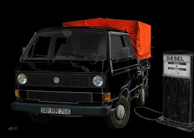 VW Typ 2 T3 Doka Pritsche Poster in black & black