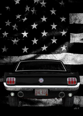 Ford Mustang 1 with US flag (1964-1973)