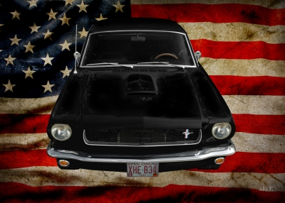Ford Mustang 1 Poster mit US-Flagge (1964-1973)