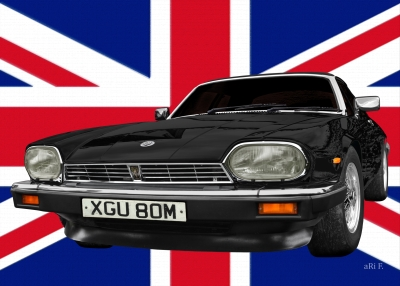 Jaguar XJS with Union Jack Poster