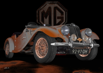 MG Midget TF in black & rust-grey
