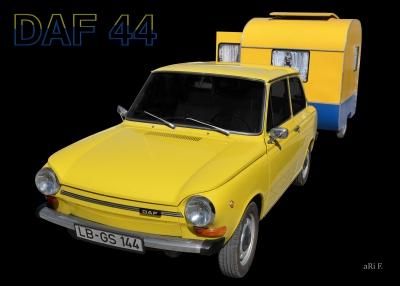 DAF 44 mit Weferlinger Wohnwagen LC9-200 (Originalfarbe)