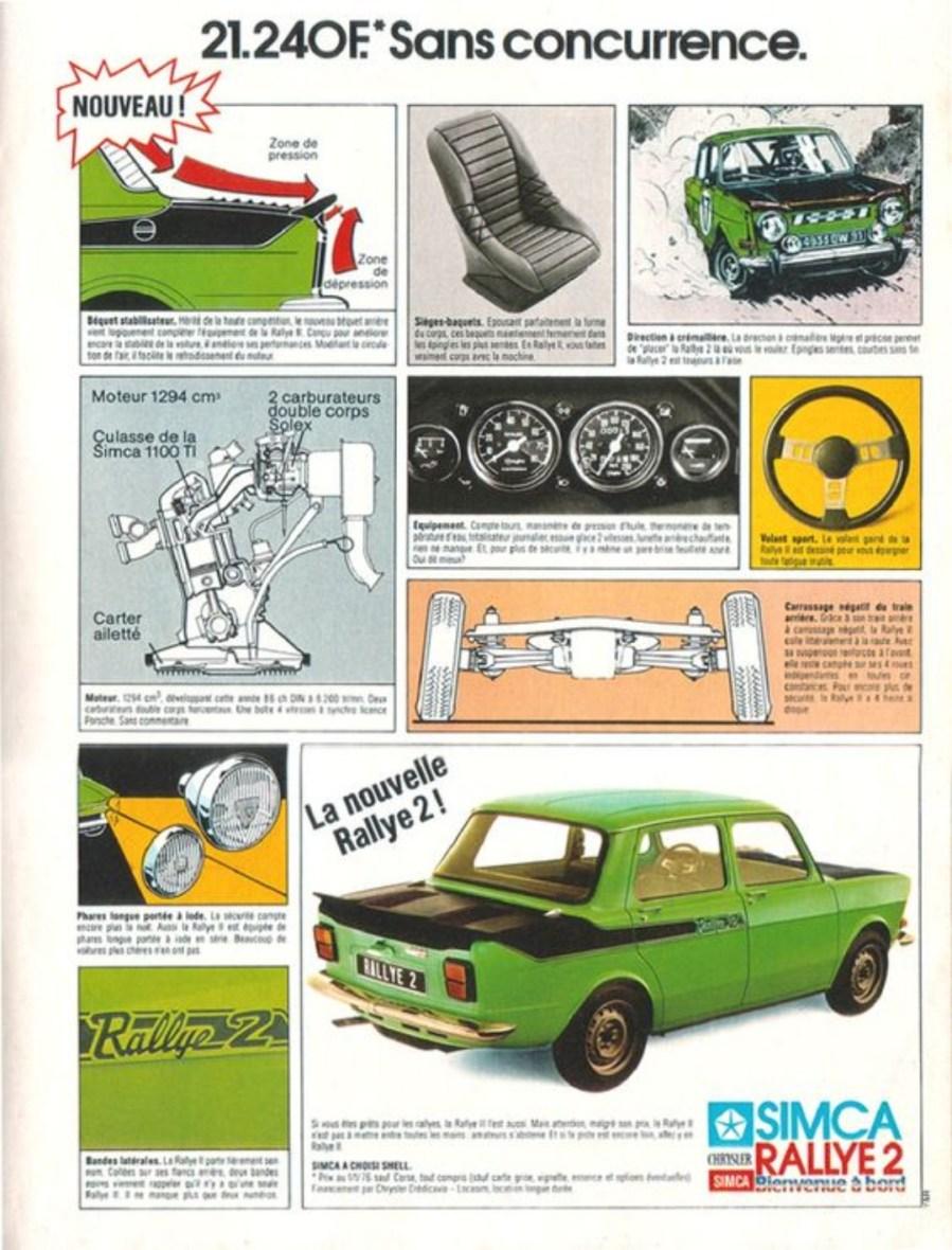 Simca 1000 Rallye 2 Werbung publicité Advert Pubblicità