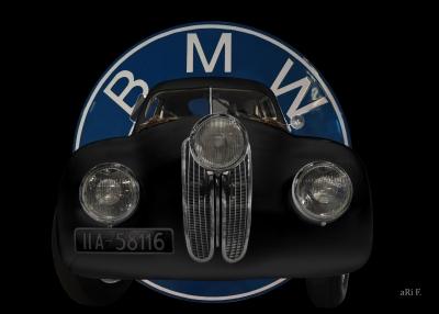 BMW 328 Touring Coupé Mille Miglia Poster mit Logo