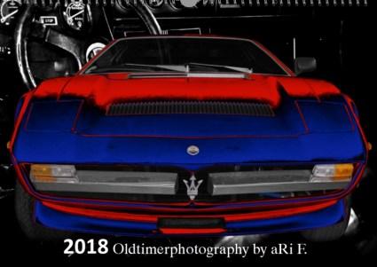 Oldtimerkalender 2018 Oldtimer-Kalender 2018 - Oldtimer Kunstkalender mit Maserati Merak SS als Titelblatt