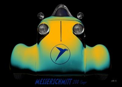 Messerschmitt KR 200 Super Poster Rekordfahrzeug Roller
