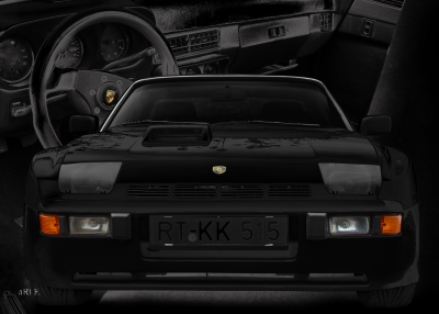 Porsche 924 Carrera GTS Poster in black
