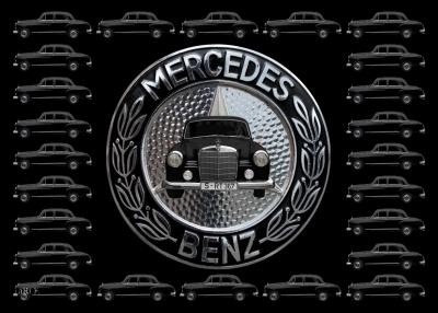 Mercedes-Benz 190 Db Ponton W 121 mit Mercedes-Logo schwarz-weiß