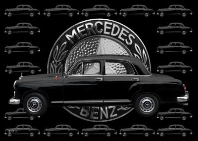 Mercedes-Benz 190 Db Poster mit Mercedes-Logo schwarz-weiß