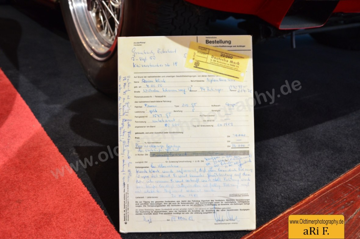 Ferrari 250 GT Coupé Kaufvertrag