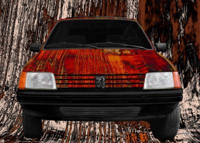Peugeot 205 Art Car Poster in red
