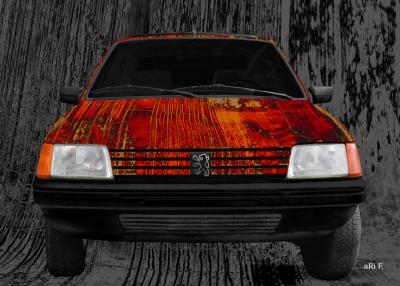 Peugeot 205 Art Car Poster in red & black