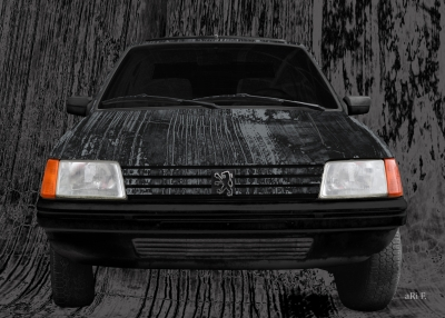 Peugeot 205 Art Car Poster in black