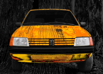 Peugeot 205 Art Car Poster in yellow