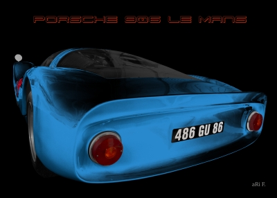 Porsche 906 Le Mans Carrera 6 Poster in blue color