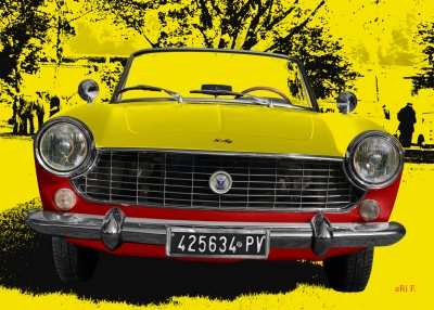 Fiat 1500 Spider in Duoton red & yellow