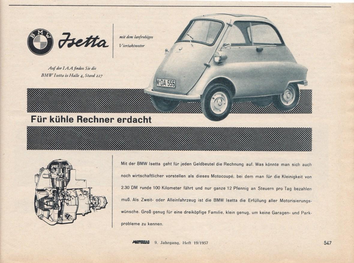 BMW Isetta Werbung - Motorrad 9. Jahrgang, Heft 19 1957