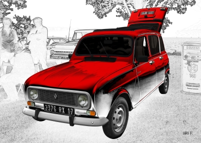 Renault 4 in red & white graphit