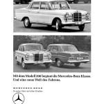"""Werbeanzeige Mercedes-Benz: """"Mit dem Modell 200 beginnt die Mercede-Benz Klasse. Und eine neue Welt des Fahrens"""", Walter Schmidt, Vertreter der Daimler-Benz AG, Lübeck, Mercedes-Benz Typ 200"""