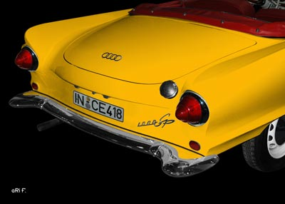 Auto Union 1000 Sp rear view in yellow