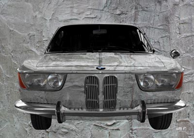 BMW 2000 CS in abstract metal
