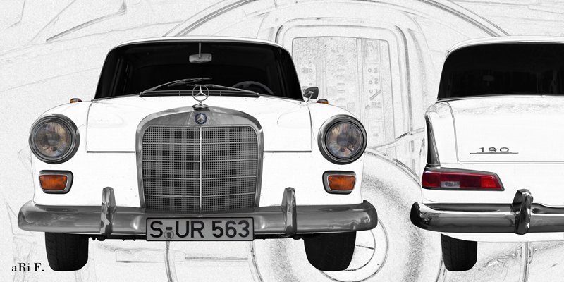 Mercedes-Benz W 110 in double view graphit