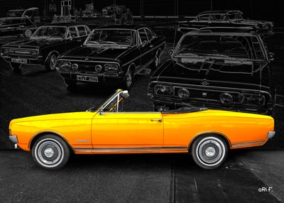 Opel Commodore A Cabriolet Poster in yellow