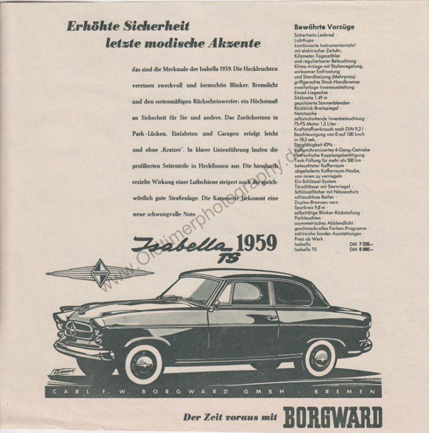 1959 Advertising Werbung für Borgward Isabella TS