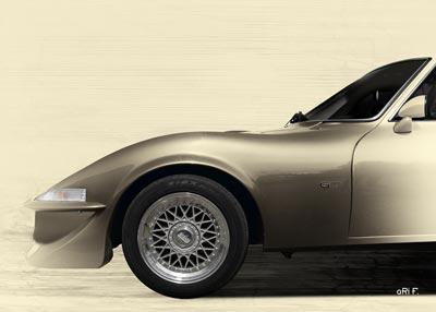 Opel GT Poster in antique